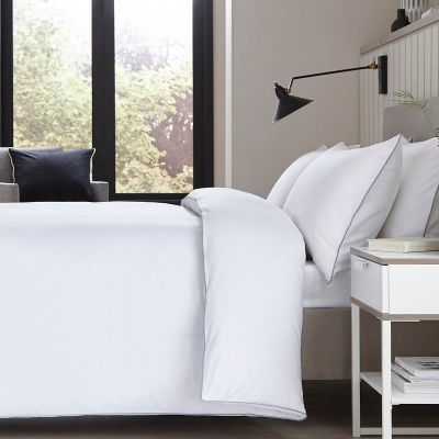 Albany Duvet Cover - 200 TC - Egyptian Cotton - White/Grey