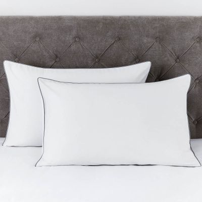 Pair of Albany Pillowcases - 200 TC - Egyptian Cotton - White/Grey