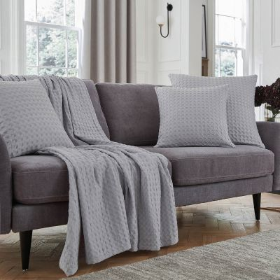 Connection Waffle Sofa Throw 1.5m x 2m  - Grey