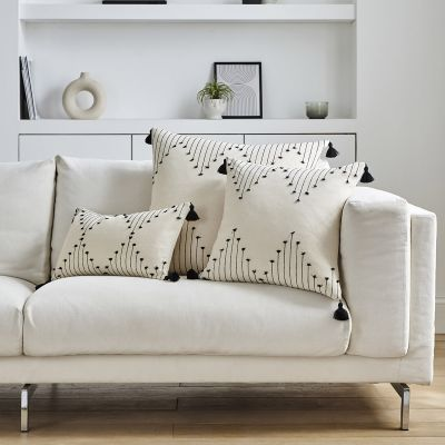Embroidered Tasselled Tufted Sofa Cushion Cover - Natural/Black