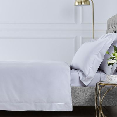 Henley Duvet Cover - 400 TC - Cotton - Grey/White