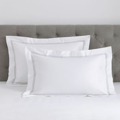 Pair of Kensington Oxford Pillowcases - 800 TC - Egyptian Cotton - White/Grey