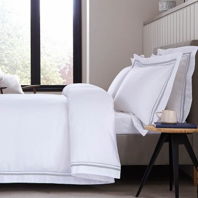 Knightsbridge Bed Linen Collection - 600 Thread Count - White/Grey