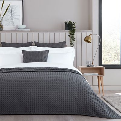 Connection Waffle Bedspread 2.5m x 2.6m - Charcoal