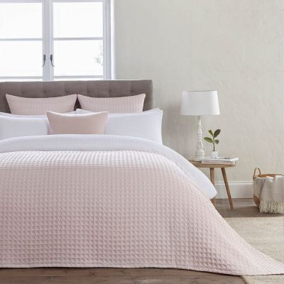 Connection Waffle Bedspread 2.5m x 2.6m - Pink