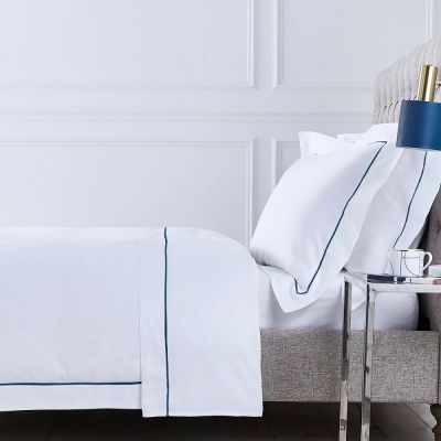 Oxford Bed Linen Collection - 400 TC - Cotton - White/Navy