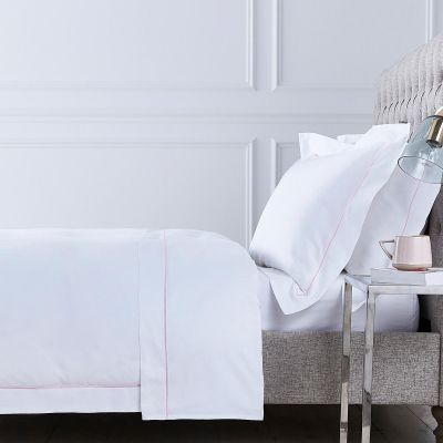 Mayfair Bed Linen Collection - 400 TC - Cotton - White/Pink