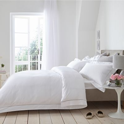 Oxford Duvet Cover - 400 Thread Count - White/Grey
