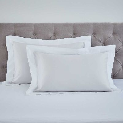 Pair of Positano Pillowcases - 400 TC - Cotton - Grey/White