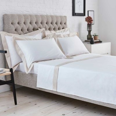 Positano Flat Sheet - 400 Thread Count - White/Natural
