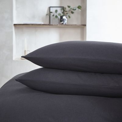 Pair Of Valencia Classic Pillowcases - Linen/Cotton - Charcoal