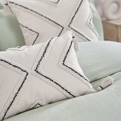 Tasselled Tufted Cushion Cover - Natural/Black