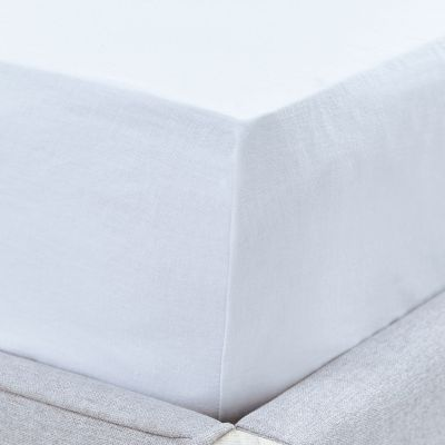 Linen/Cotton Fitted Sheet - White
