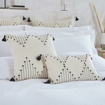 Embroidered Tasselled Tufted Cushion Cover - Natural/Black