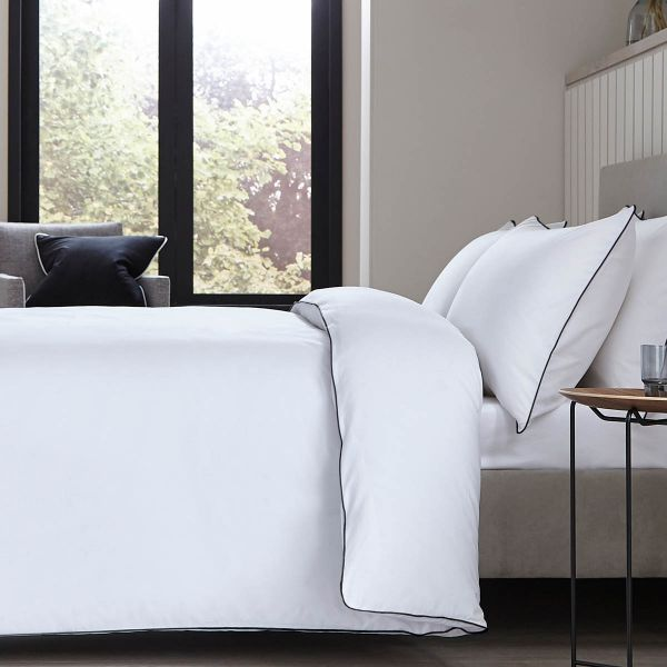 Albany Bed Linen Collection - 200 TC - Egyptian Cotton - White/Black