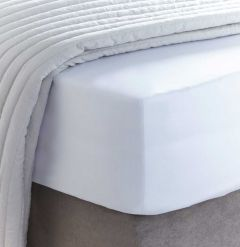 400 Thread Count Sateen White Deep Fitted Sheet - Double