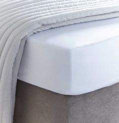 400 Thread Count Sateen White Fitted Sheet - Double