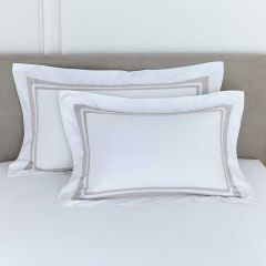 Pair of Venice Oxford Pillowcases - Standard - 400 Thread Count - Putty