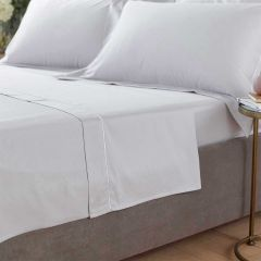 Henley Flat Sheet - 400 Thread Count - Double - Grey/White