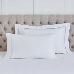 Pair of Lisbon Classic Pillowcases - Standard - 200 Thread Count - White