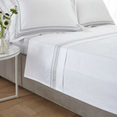 Venice Flat Sheet - 400 Thread Count - King Size  - White/Grey