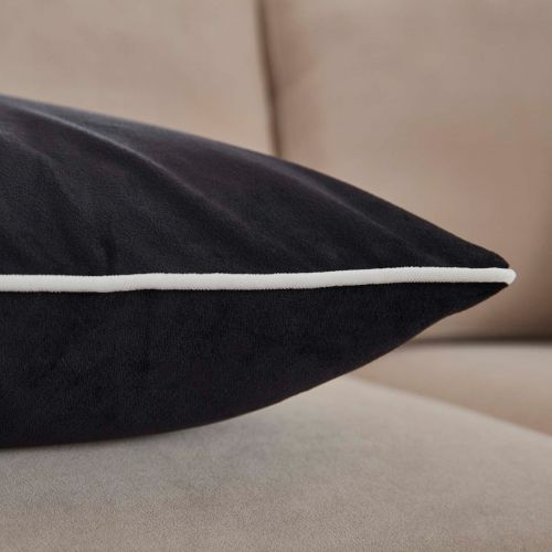 Luxury Velvet Sofa Cushion Cover - Black