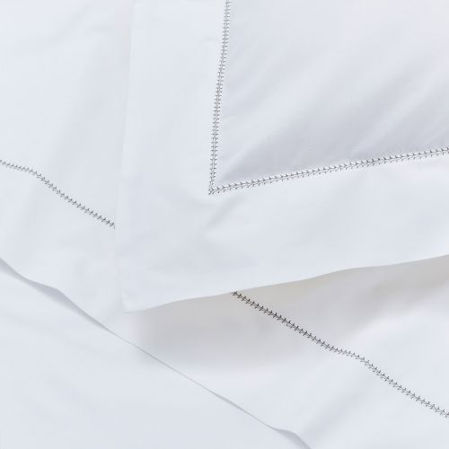 Chelsea Flat Sheet - 200 Thread Count - White/Grey