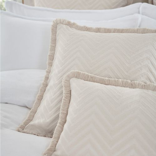 Chevron Fringed Tufted Cushion Cover - Natural