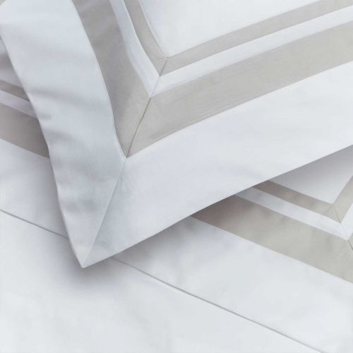 Venice Flat Sheet - 400 Thread Count - White/Putty