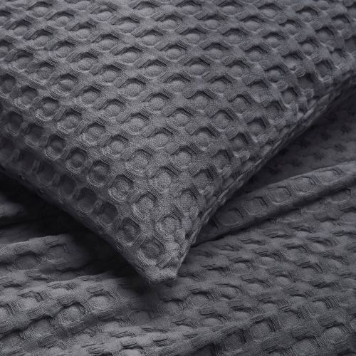 Connection Waffle Sofa Throw 1.5m x 2m  - Charcoal