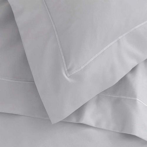 Pair of Henley Oxford Pillowcases - 400 TC - Cotton - Grey/White