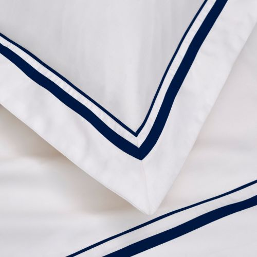 Knightsbridge Bed Linen Collection - 600 Thread Count - White/Navy