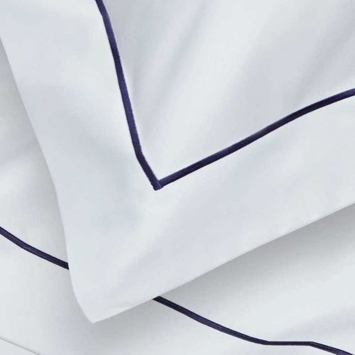 Mayfair Bed Linen Collection - 400 TC - Egyptian Cotton - White/Navy