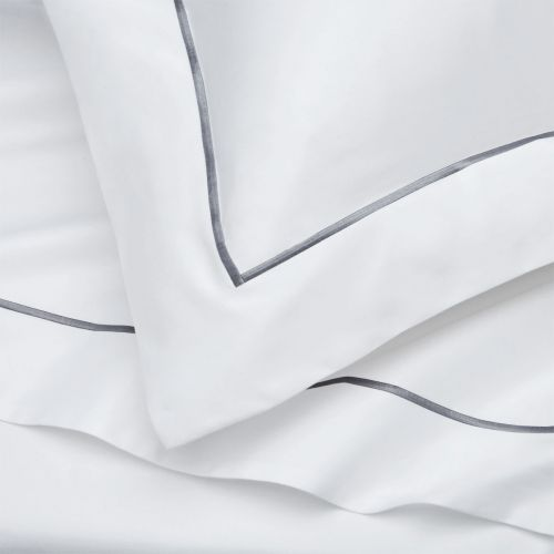 Mayfair Duvet Cover - 400 TC - Egyptian Cotton - White/Dark Grey
