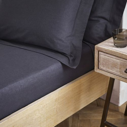 Linen/Cotton Fitted Sheet - Charcoal