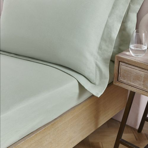 Linen/Cotton Fitted Sheet - Sage