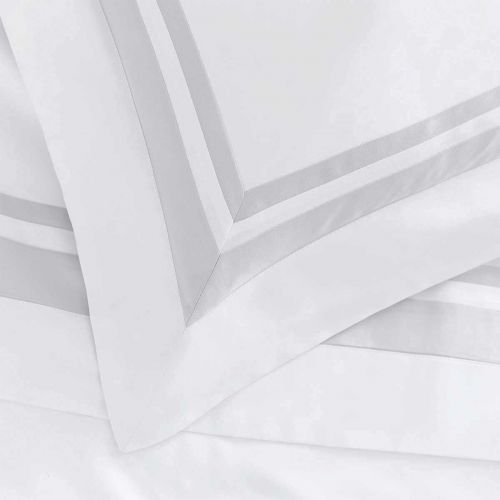 Venice Flat Sheet - 400 Thread Count - White/Grey