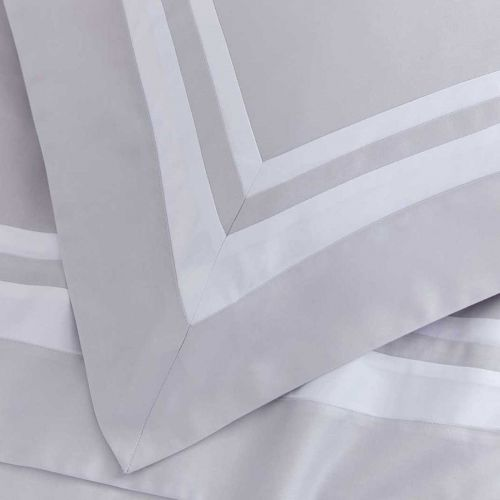 Venice Bed Linen Collection - 400 Thread Count - Grey/White