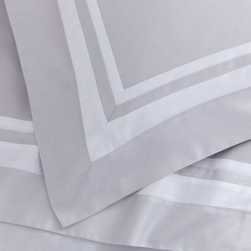 Venice Flat Sheet - 400 Thread Count - Grey/White