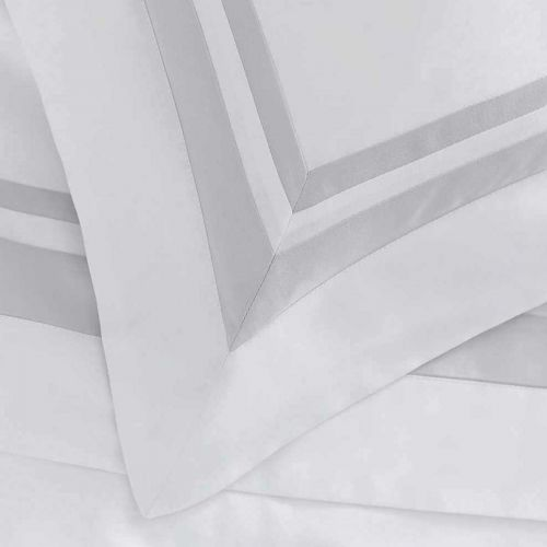Venice Bed Linen Collection - 400 Thread Count - White/Grey