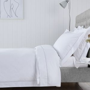 Chelsea Bed Linen Collection - 200 Thread Count - White/Grey