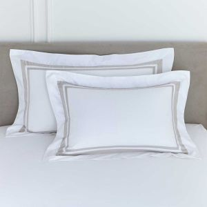 Pair of Venice Oxford Pillowcases - 400 TC - Cotton - White/Putty