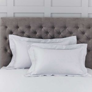 Pair of Henley Oxford Pillowcases - 400 Thread Count - Grey/White