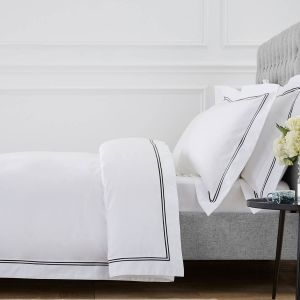 Kensington Bed Linen Collection - 800 TC - Egyptian Cotton - White/Black