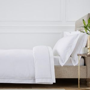 Double Marrow Bed Linen Collection - 800 TC - Egyptian Cotton - White/Grey