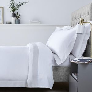 Positano Bed Linen Collection - 400 TC - Cotton - White/Grey