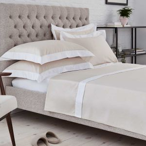 Positano Flat Sheet - 400 Thread Count - Natural/White