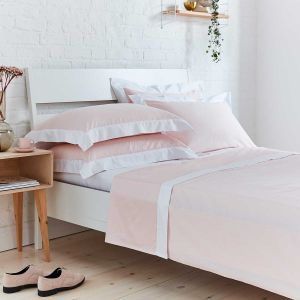 Positano Flat Sheet - 400 Thread Count - Pink/White