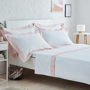Positano Flat Sheet - 400 Thread Count - White/Pink